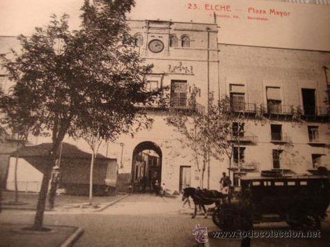 EXCELENTE TARJETA POSTAL ORIGINAL P.P.S.XX ELCHE ALICANTE - PLAZA MAYOR Nº. 23, H. 1915 (Postales - España - Comunidad Valenciana Antigua (hasta 1939))