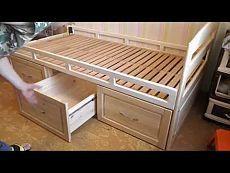▶ Деревянная кровать с ящиками. Часть 6. Заключительная. Отделка и сборка. - YouTube