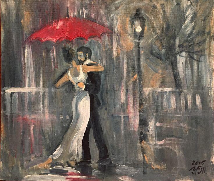 танец под красным зонтом