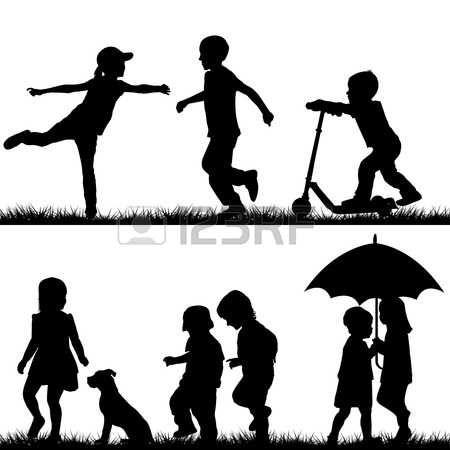 bambina con cane: Sagome di bambini che giocano