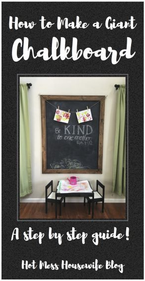 Chalkboards and chalkboard walls are a great way to decorate large spaces in your home! Click to see how I put up a giant, framed chalkboard in my home!