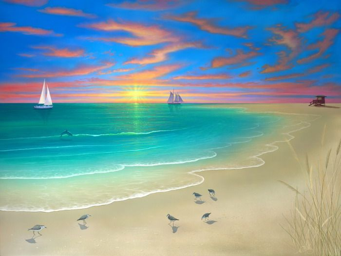 17 best ideas about paintings of nature on pinterest oil for Beach mural painting