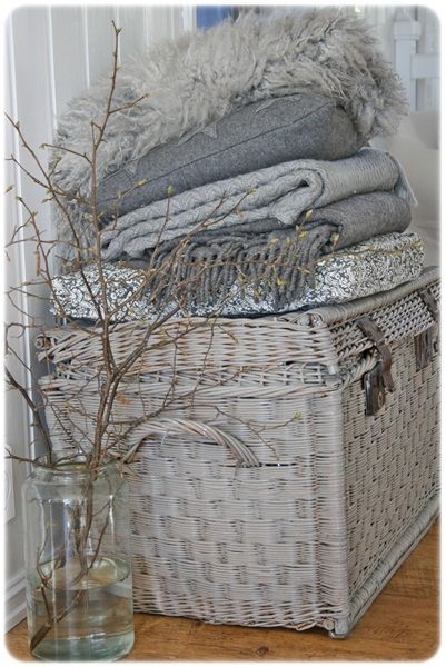 shabby white painted baskets, do this to my baskets in various shades of white and greys
