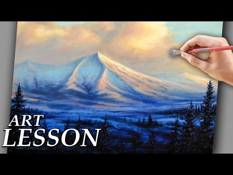 Acrylic Landscape Painting Lesson | Mountains with colorful clouds - YouTube