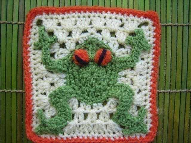 Red eyed frog square - rugalugs crochet pattern. $5.00, via Etsy.