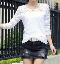 100% cotton ladies long sleeve crew neck t shirt with laceBest Seller follow this link http://shopingayo.space