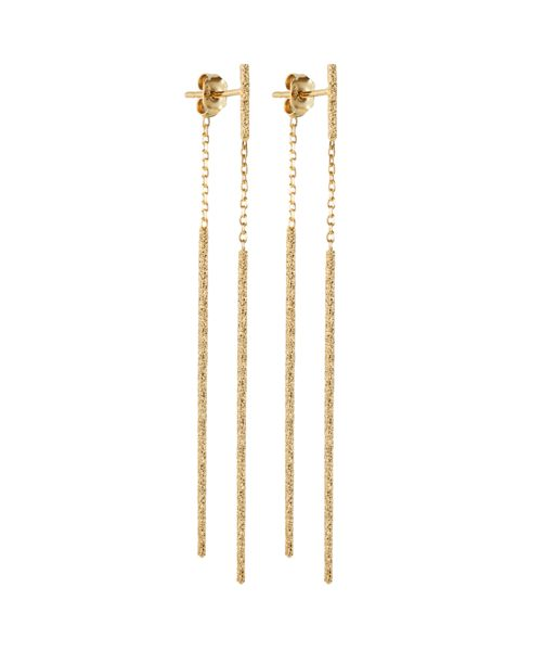 Carolina Bucci: Our signature Florentine Finish is achieved by beating each piece with a diamond tipped tool, which leaves permanent faceted dents in the gold.Available in 18k Yellow, White, Pink or Black Gold. These earrings are approximately 7cm long and feature Florentine magic wandson both the post and butterfly, which can be mixed and matched with our studs. Please note that as each product is made by hand, there may be slight natural variations in the lengthor tone of pieces.