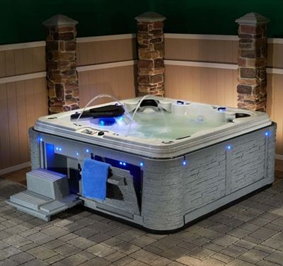 Picture Of Madrid 60 Hot Tub 5 6 Seats Gray Shadowrock Cabinet Strong Spas Tub Hot SPA