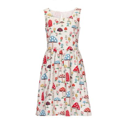 Pretty Novelty Print Dresses:  Cath Kidston Mushroom Dress.  Gnome-Friendly  Now Back In Stock.