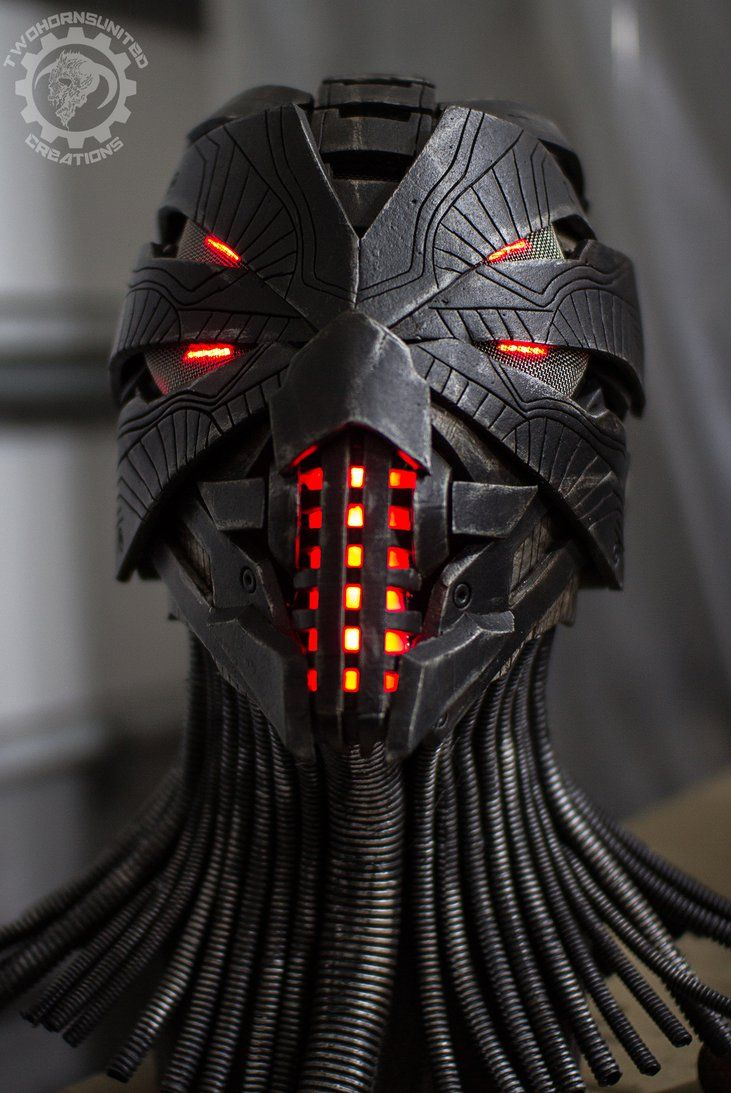 Erebus - Cyberpunk dystopian light up helmet by TwoHornsUnited on DeviantArt