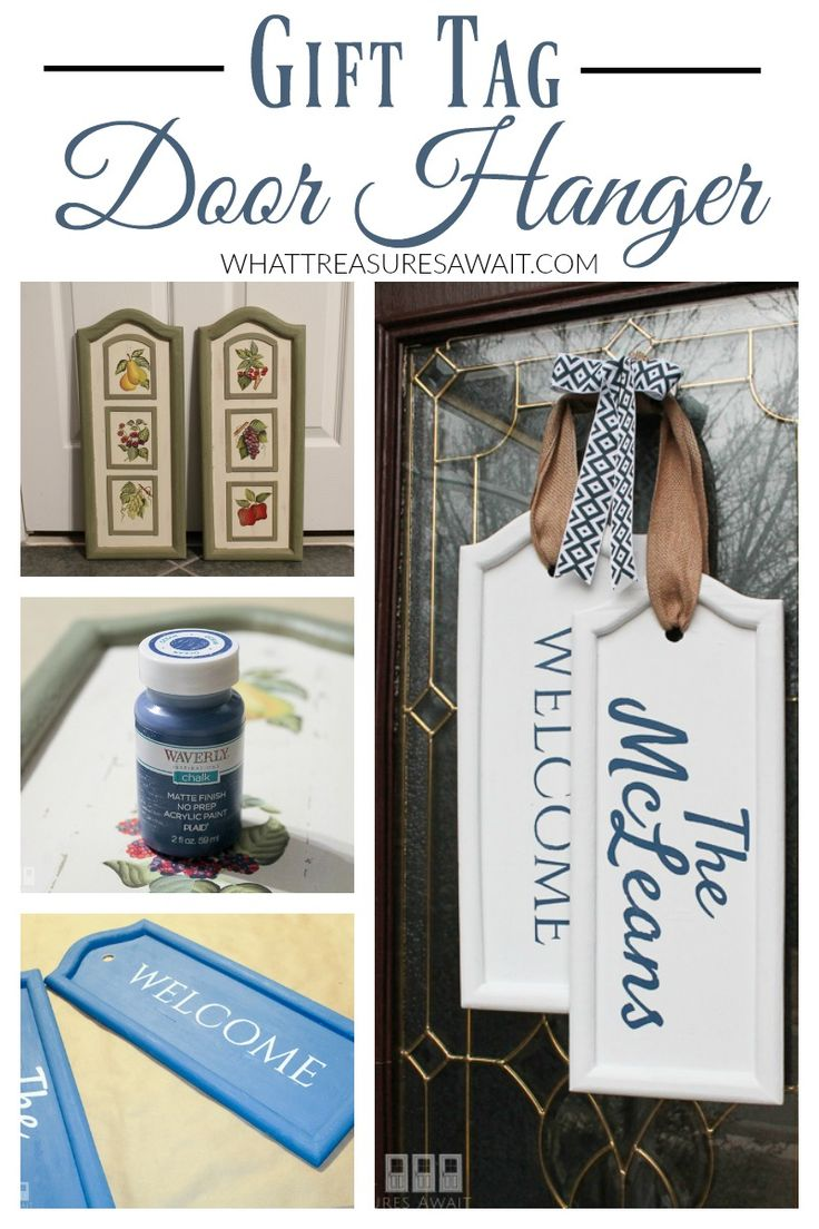 This gift tag door hanger was made from thrift store wall art!
