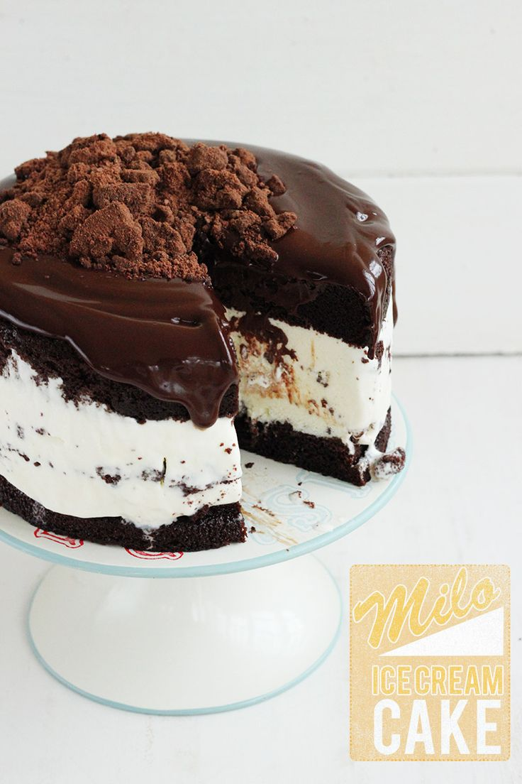 MIlo ice cream cake - Moist chocolate malt cake layers, vanilla-milo ice cream, malted hot fudge sauce and milo crumbles