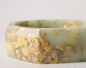 mint gold octagonal eco resin faceted bangle with metallic gold flakes