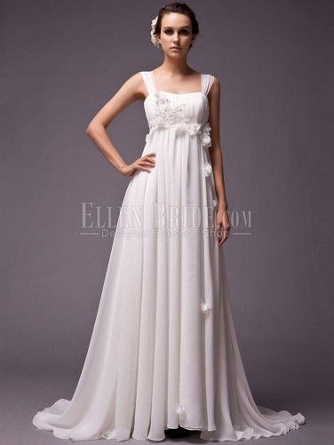 A-line Spaghetti straps Court Train Chiffon Vintage Wedding Dresses