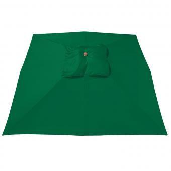 anndora Sonnenschirm Grün 4x4 m rechteckig Gartenschirm wasserabweisend Winddach  | Grün #flaschengrün mit Lederecken im anndora style mit Stammschutz aus Holz