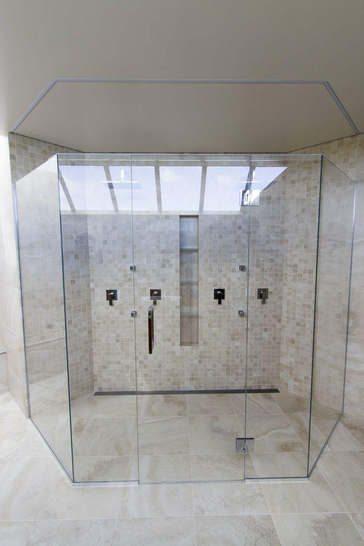 Modern bathroom shower - Led Strips Above Shower Box Light Off Led Warehouse Led Strips In