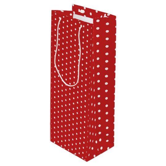 Red polka dot pattern, white circles dots ovals #wine #gift #bag