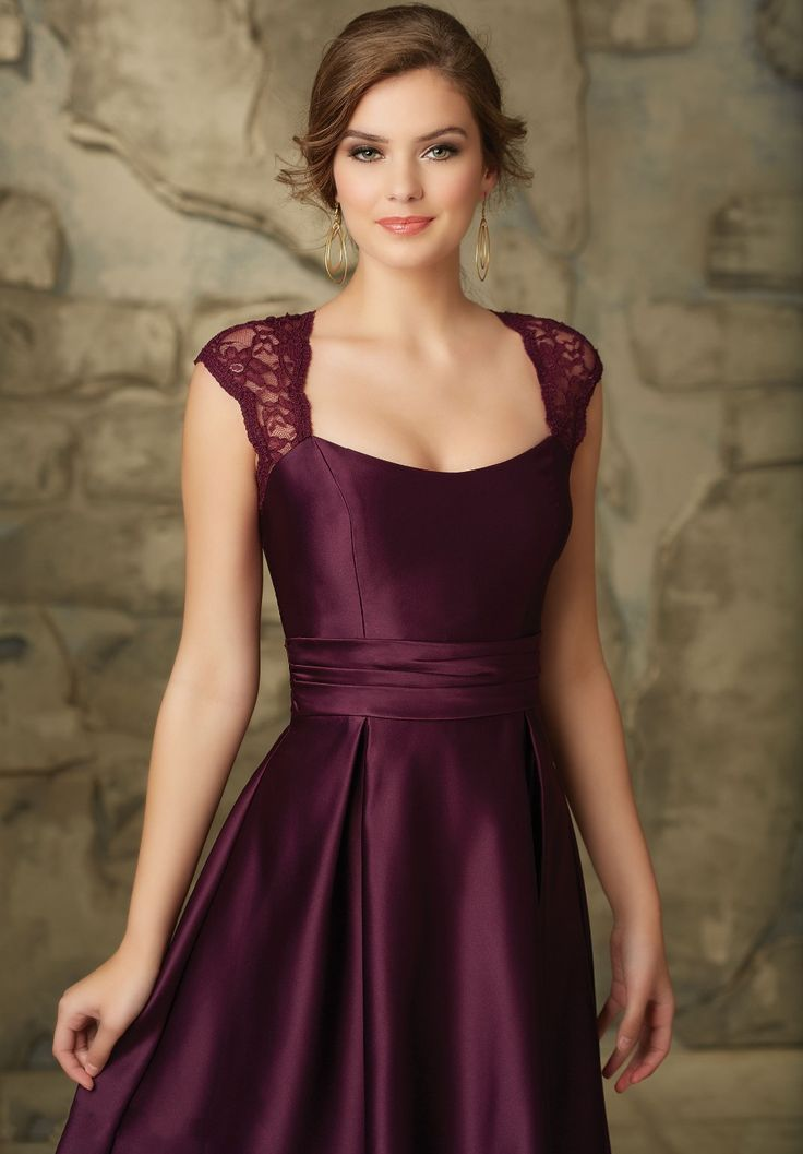 A-line Satin Lace Cap Sleeves Bridesmaid Dress