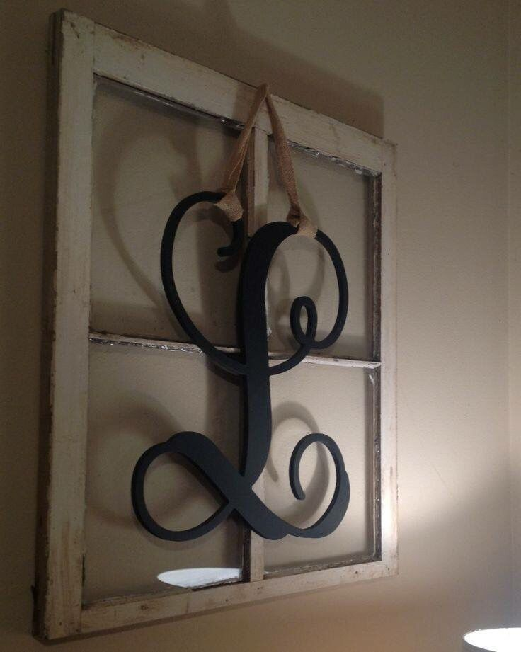 Old window frame decor with last name initial                              …