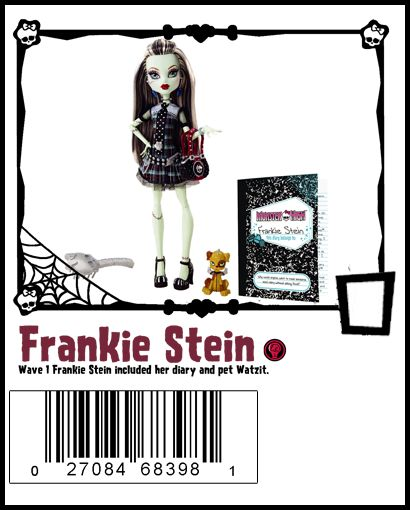 Frankie Stein Wave 1, includes brush, stand and pet Watzit