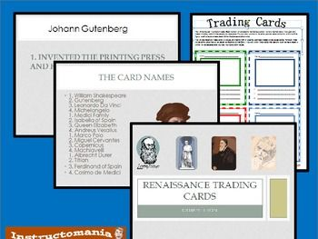 This is fun and easy to run. Students create 4 trading cards using a trading card template. Then students share their cards with a group and play an interactive game. Cards are issued points at the end of the game for students to see who won! Teacher instructions are on the first slide of the powerpoint game.