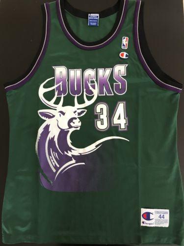 Rare Vintage Champion Ray Allen Milwaukee Bucks Jersey Size 44 Large L XL Deer please retweet