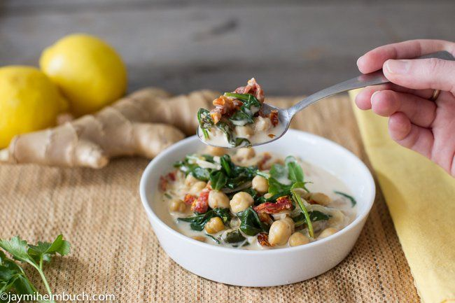 braised coconut spinach with chickpeas and lemon vegan amp gluten free
