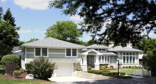 Split level converted to craftsman style curb appeal for Craftsman style split level homes