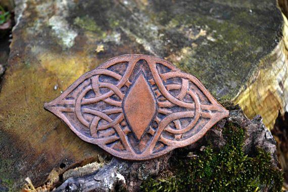 Hand Tooled Leather Hair Barrette  Celtic princess hair