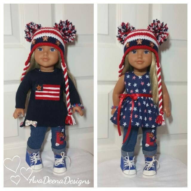 Fourth of July Stars and Stripes  complete outfit clothes for 18 inch doll american girl doll handmade by AvaDeenaDesigns on Etsy