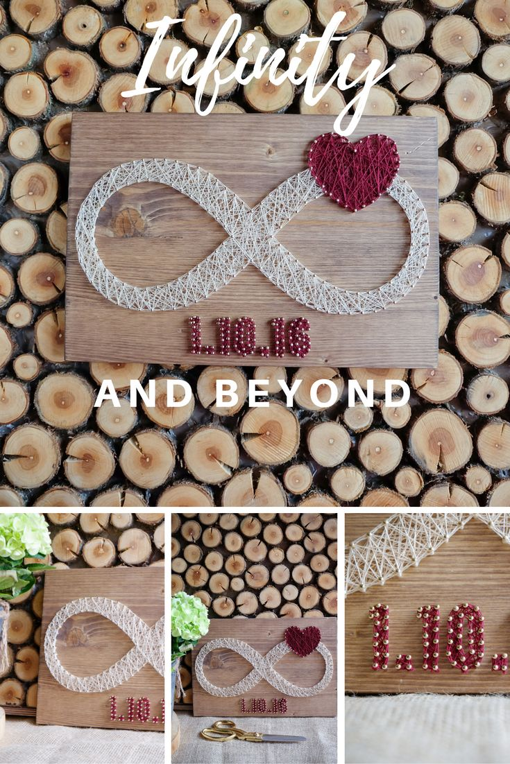 infinity string art decor with custom dates and red heart decor put your or