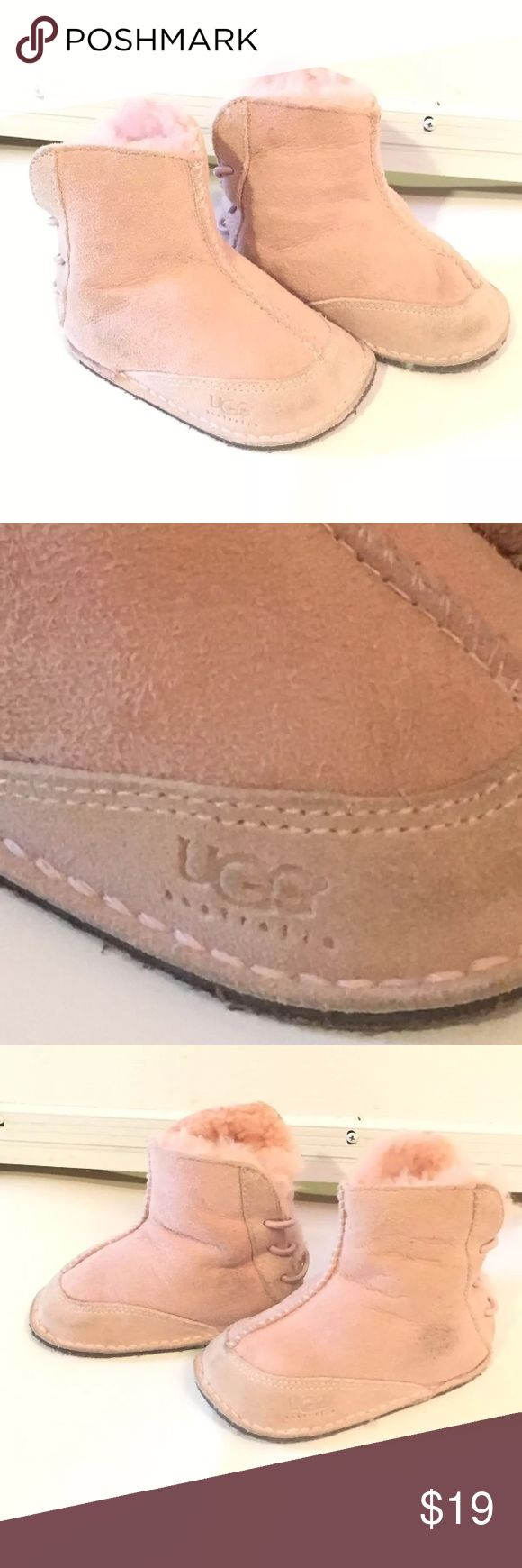 Baby ugg pink small UGG light Pink Baby Girls Baby Boo EUC Size Small Suede Shearling  Soles in perfect shape, minor dirty spots  Check out my other listings UGG Shoes Baby & Walker
