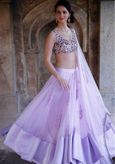 Lavender Lehenga by Astha Narang , lightweight lehenga , summer brunch outfit , engagement outfit , twirling outfit , net lehenga
