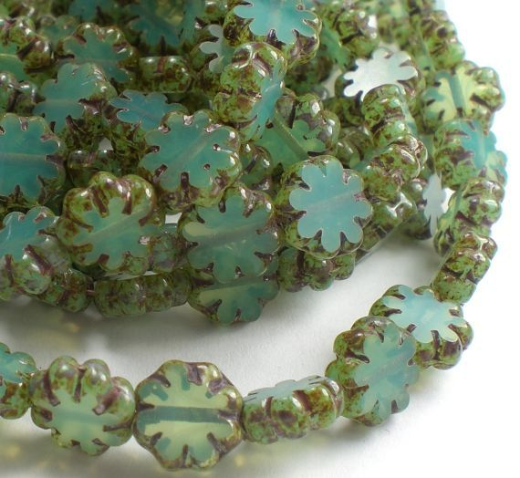 9mm Blue Flower Beads Czech Glass Beads Picasso 25 by royalmetals