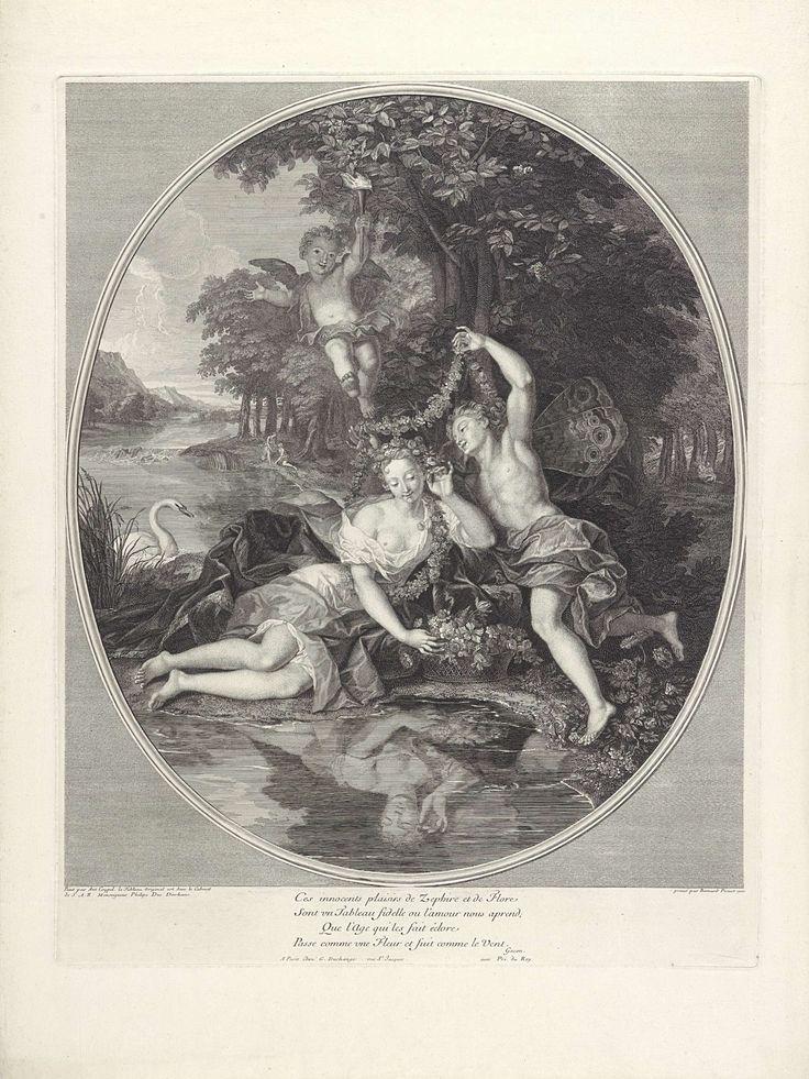 Bernard Picart | Zephyrus en Flora, Bernard Picart, Gaspard Duchange, Lodewijk XIV (koning van Frankrijk), 1701 | De jonggehuwden Flora, de bloemengodin, en Zephyrus, de god van de westenwind van de lente, met een bloemenmand en guirlandes aan de oever van een rivier. Boven hen zweeft Amor met een brandende fakkel. Onder de voorstelling een vierregelig vers in het Frans. Naar het schilderij in de collectie van de Filips I van Orléans.