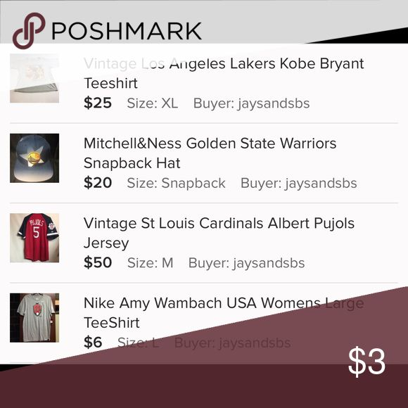 Trade with Jaysandsbs🔥Do Not Purchase🔥 Trading with @jaysandsbs. Trading Kobe Teeshirt, Amy Wambach Teeshirt, Albert Pujols Cardinals Jersey, And Mitchell&Ness Warriors Hat for Oakland Athletics Jacket GoldenBearGarage Other