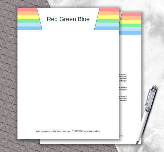Rainbow Design Letterhead Template Printable and Editable in