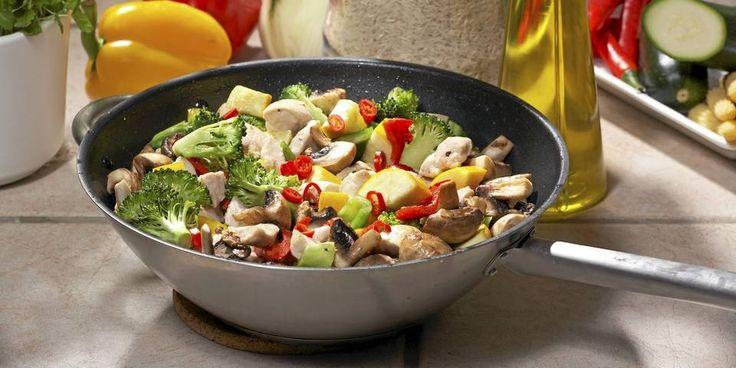 MIDDAG: Wok med svinekjøtt og grønnsaker er vårt middagsforslag på dag fem.