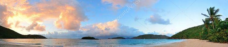 Panorama tramonto spiaggia — Immagini Stock #43921467