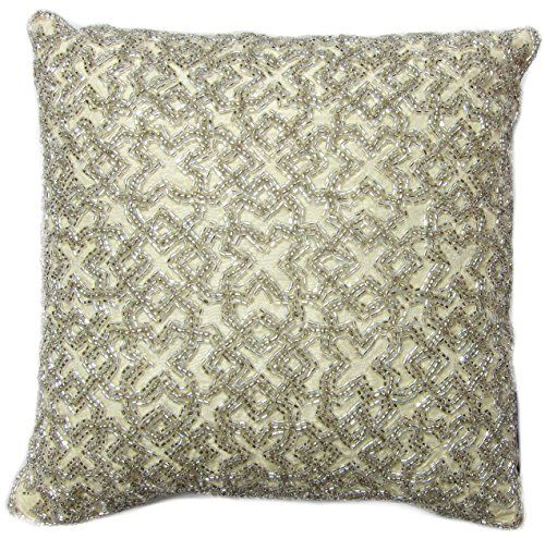 Tahari Home Decorative Pillows : Tahari Beaded Decorative Toss Pillow Cover 100% Cotton Bugle Beads Accent Throw Pillow Cushion ...