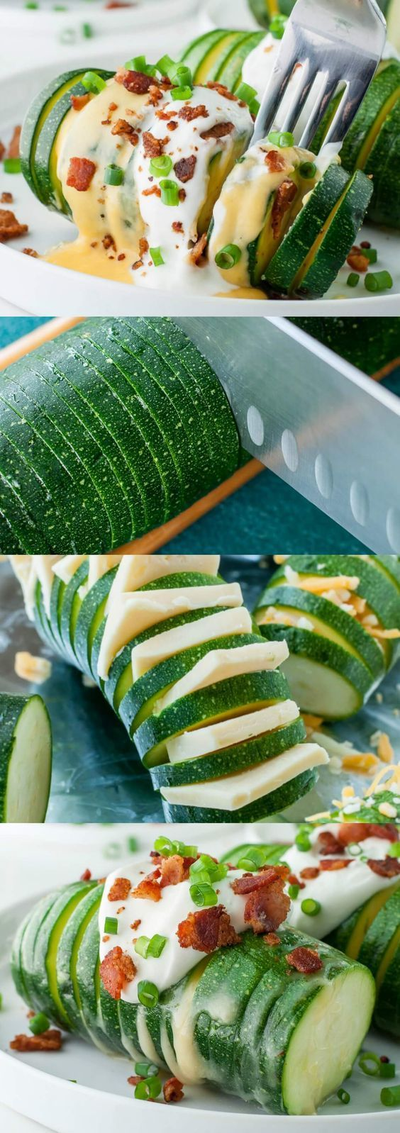 Loaded Hasselback Zucchini
