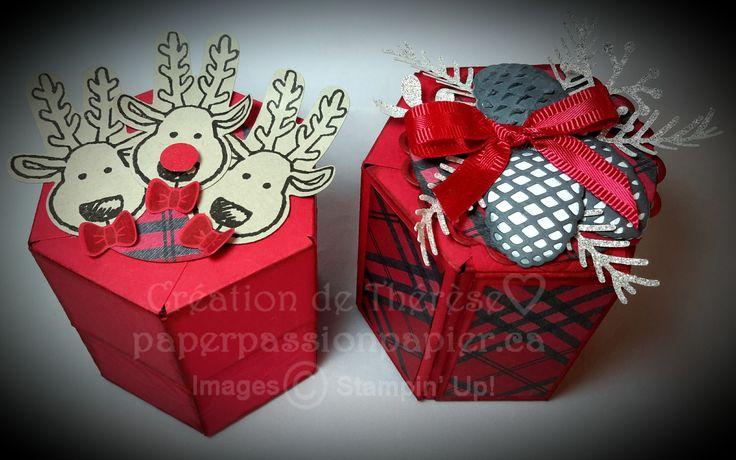 Boîtes hexagonales en 2 versions #stampinup #paperpassionpier  www.paperpassionpapier.ca