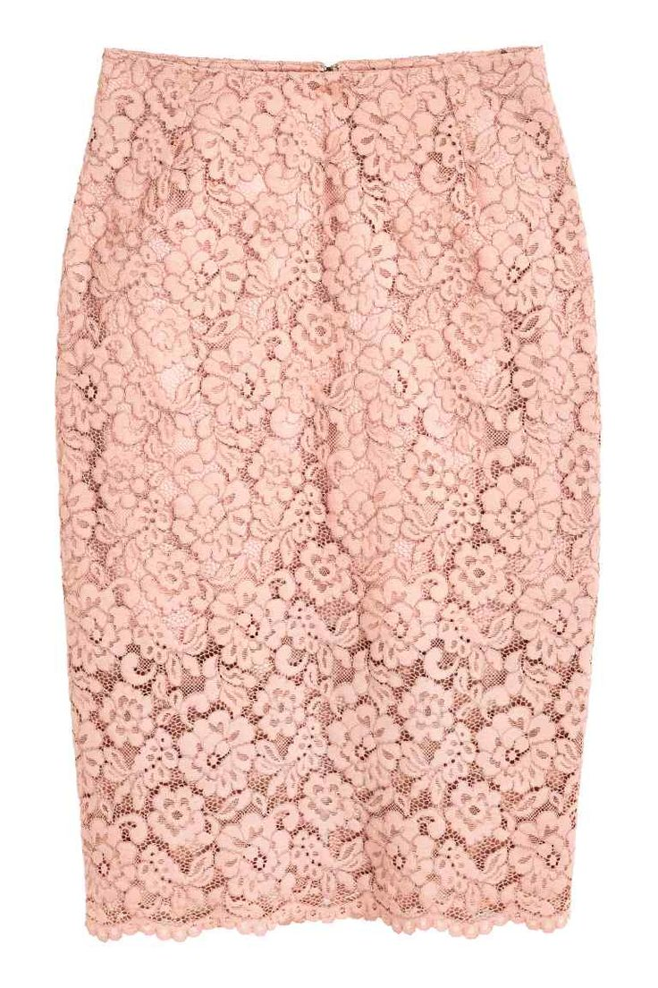 Lace pencil skirt: Lace pencil skirt with a concealed zip and a slit at the back. Lined.