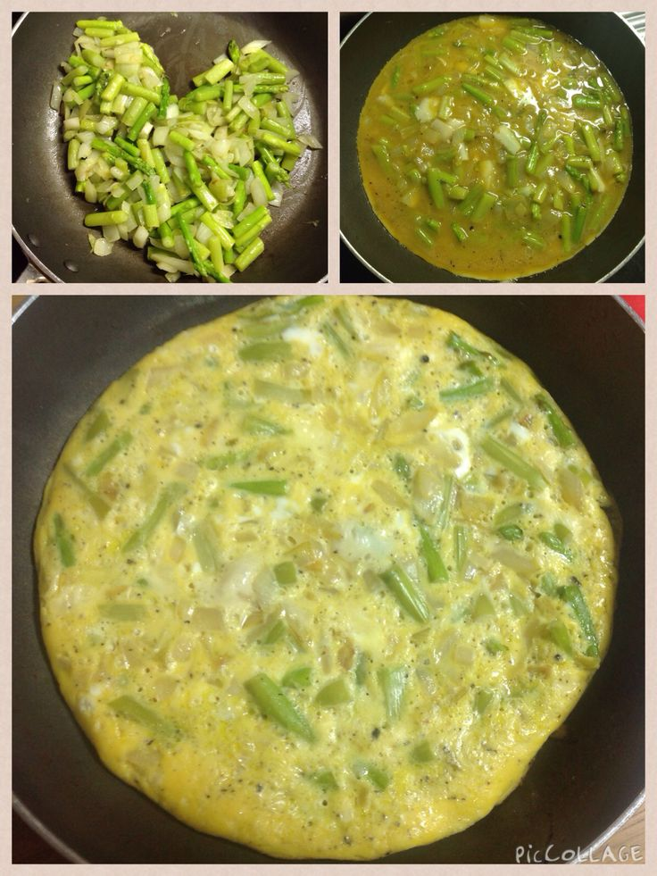 Asparagus omelette: asparagus, onion, parmesan, eggs. Boil asparagus, Fry onion, add boiled asparagus to fry, cool it down and mix with eggs, pan fry and serve.