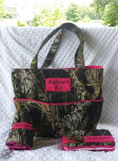 Personalized Mossy Oak Breakup Diaper Bag with Matching Diaper Wipes Case and Changing Pad. Camo Diaper Bag Set. Personalized Diaper Bag - pinned by pin4etsy.com