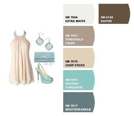 Tan and Teal color palette  www.letschipit.com