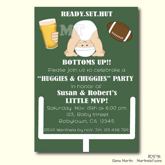 Huggies And Chuggies Baby Shower Invitation  Dad Diaper Party  Football  Baby Shower  Diapers And Beer Baby Shower  Beer And Babies Shower