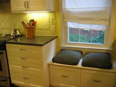 Kitchen Window Seat In Front Of Low Window Kitchen