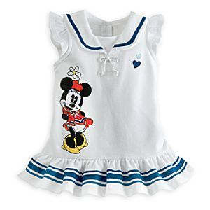 Disney Minnie Mouse Knit Dress for Baby | Disney StoreMinnie Mouse Knit Dress for Baby - Pie-eyed Minnie brings some vintage charm to this nautical knit dress. The embroidered appliqu� stands out against the white knit fabric which is accented with blue and white ribbon and two blue hearts.