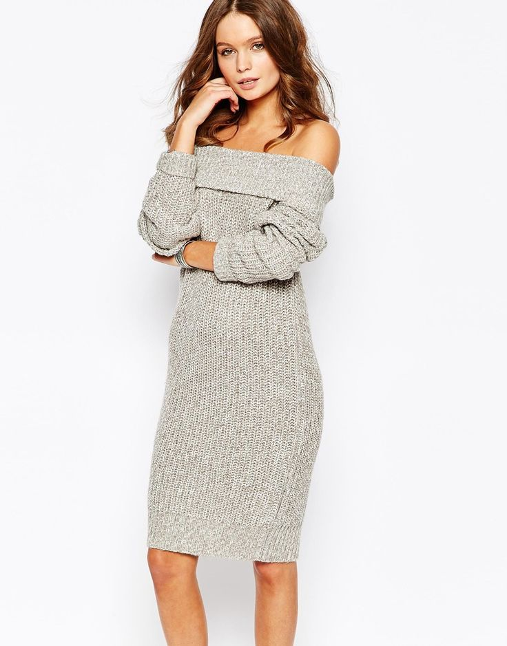 Off The Shoulder Jumper Knitting Pattern : Image 1 of Fashion Union Knitted Off Shoulder Jumper Dress Winter trends ...